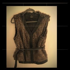 Faux Fur Vest with leather trim and belt